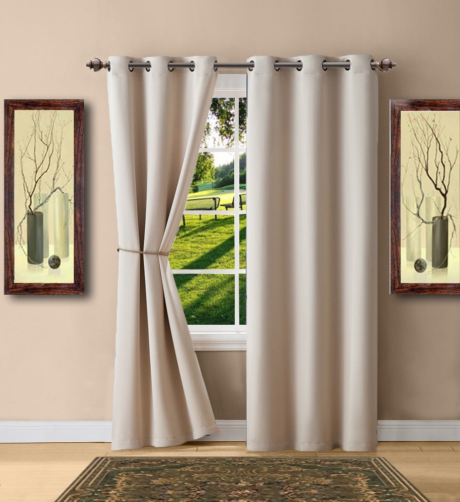 Warm Home Designs Ivory Blackout Curtain Panels, Pairs & Valances with Tie-Backs in 7 Sizes