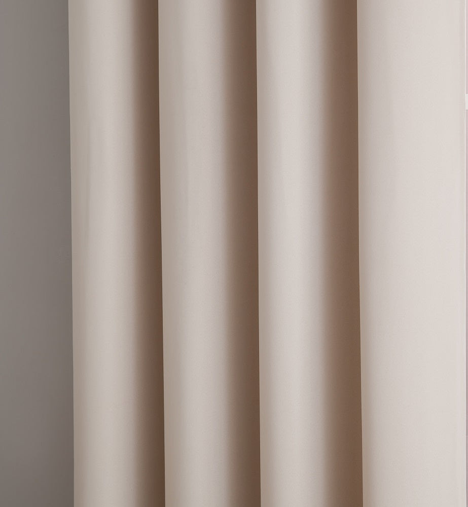 Warm Home Designs Pair of 2 Ivory Room Darkening Curtains with 2 Tie-Backs in 63, 84, 96 & 108 Inch Length