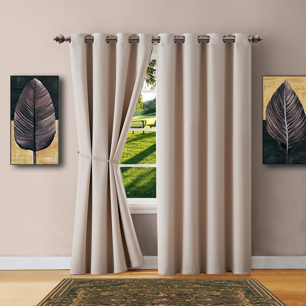 Warm Home Designs Ivory Blackout Curtains, Valance Scarves, Tie-Backs