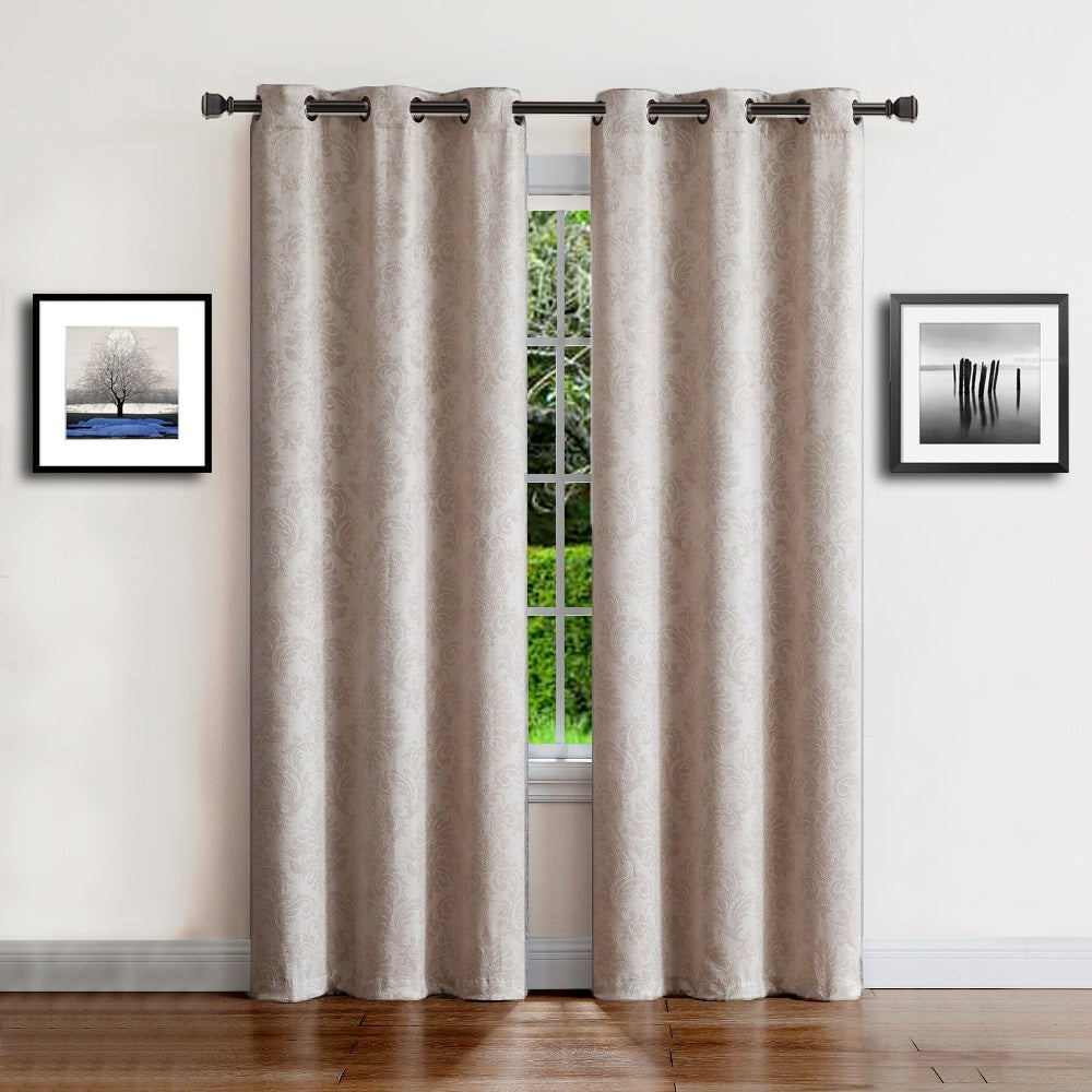 Warm Home Designs Embossed Textured Blackout Energy Efficient Ivory Curtains in 9 Sizes