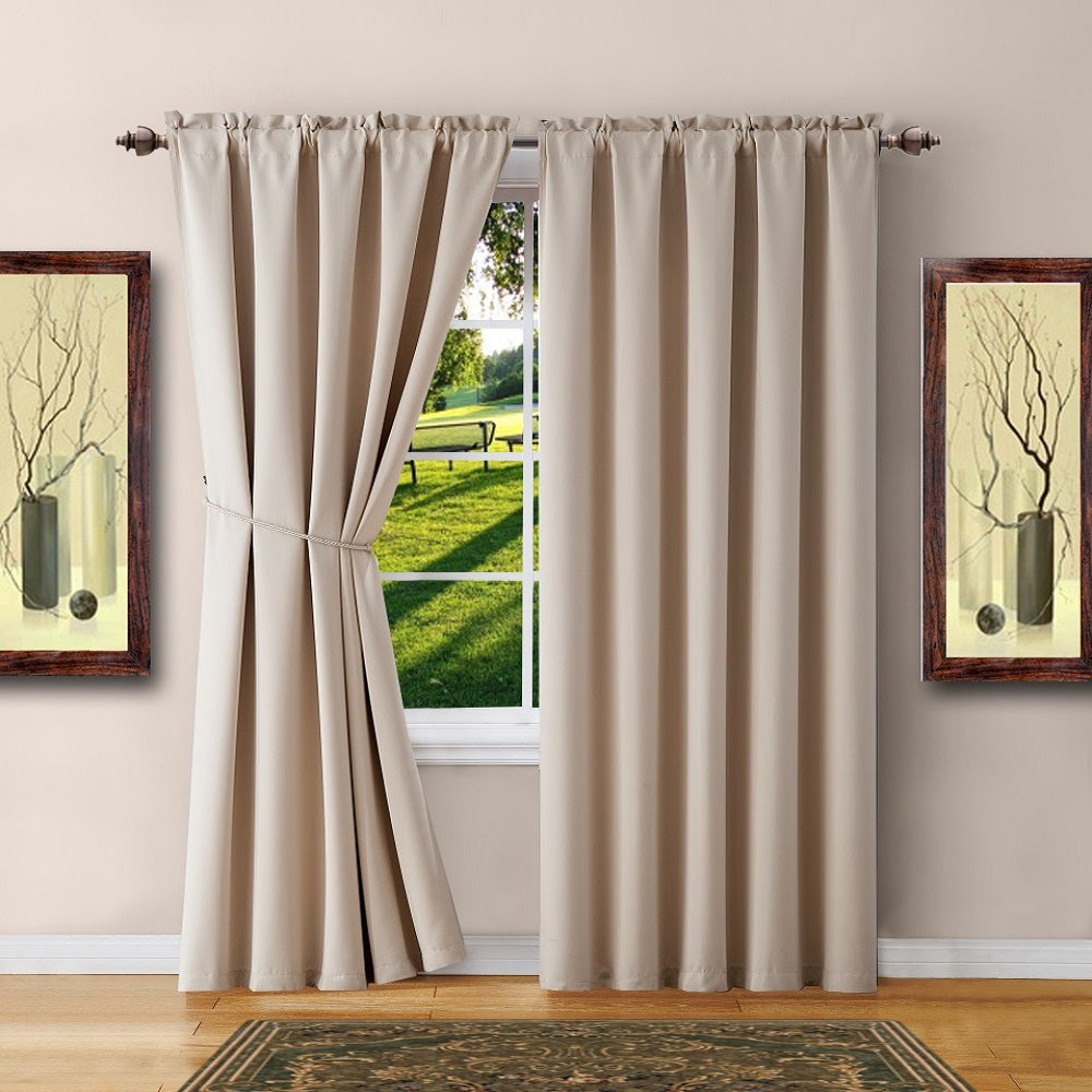Warm Home Designs Pair of Ivory Room Darkening Curtains & Tie-Backs