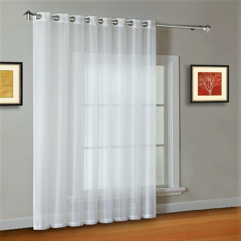 "102"" Extra Wide Sheer White Sliding Patio Door Curtains, Room Dividers"