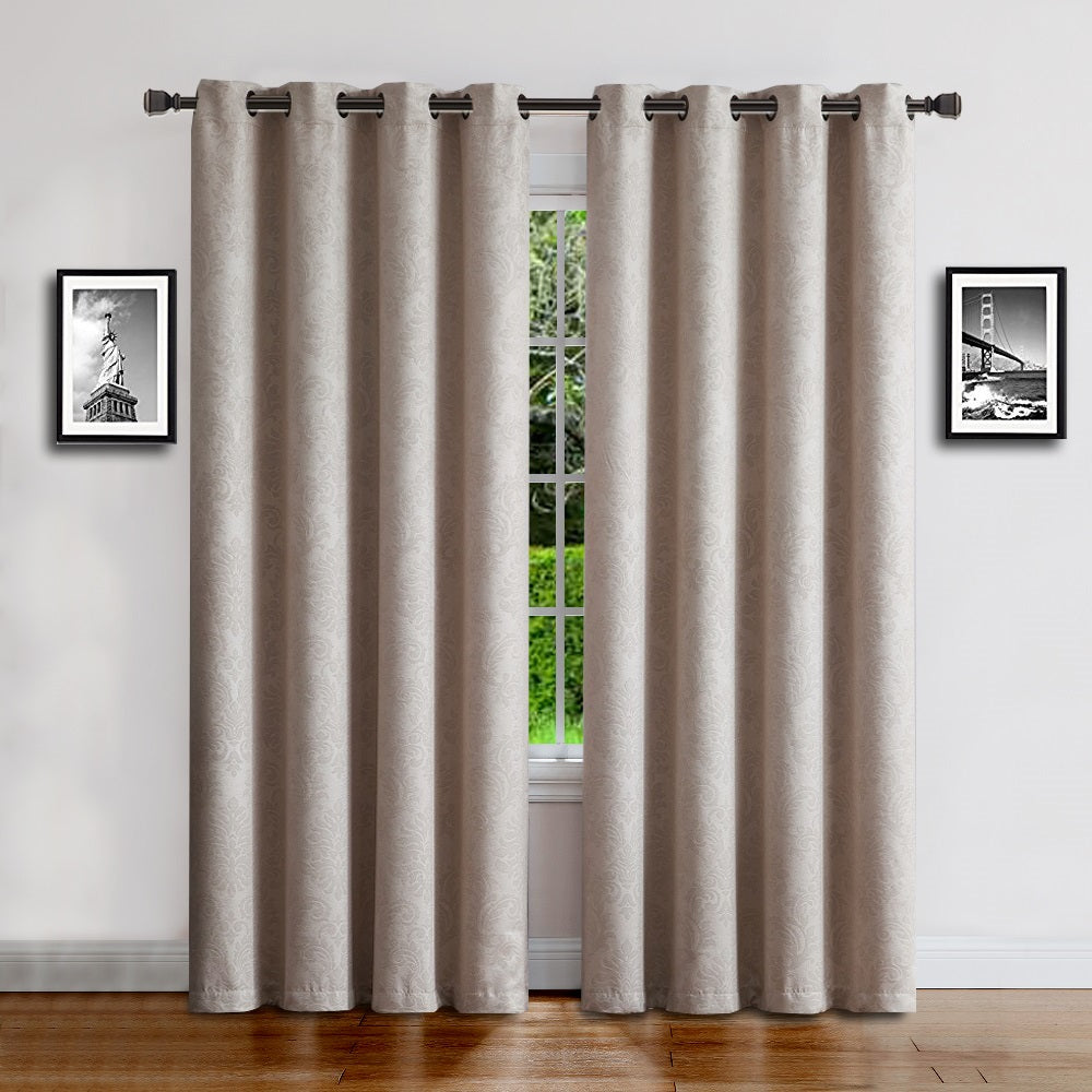 Warm Home Designs Embossed Textured Energy Efficient Ivory Curtains