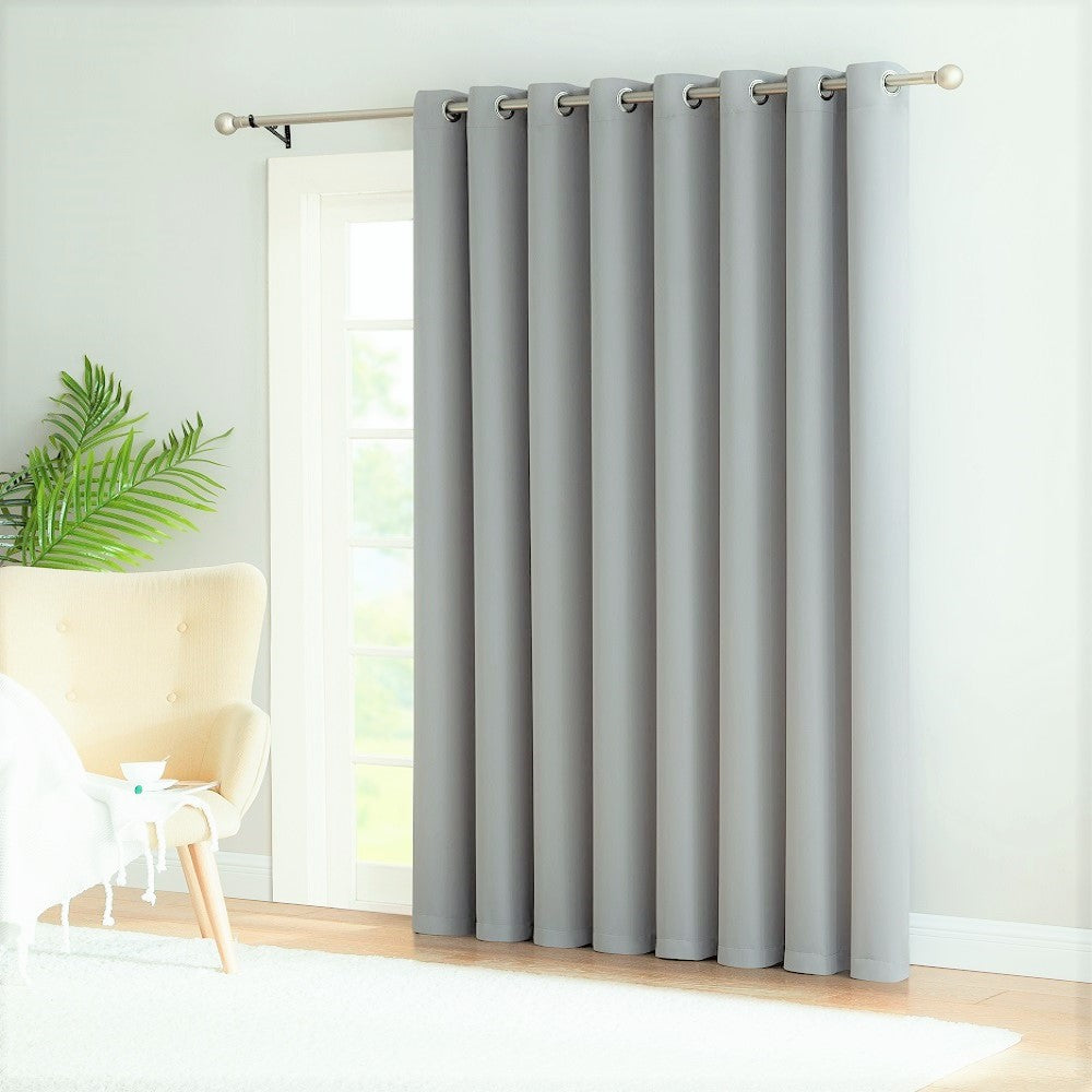 Warm Home Designs Extra-Wide Light Grey Patio Door Curtains & Wall-to-Wall Room Dividers