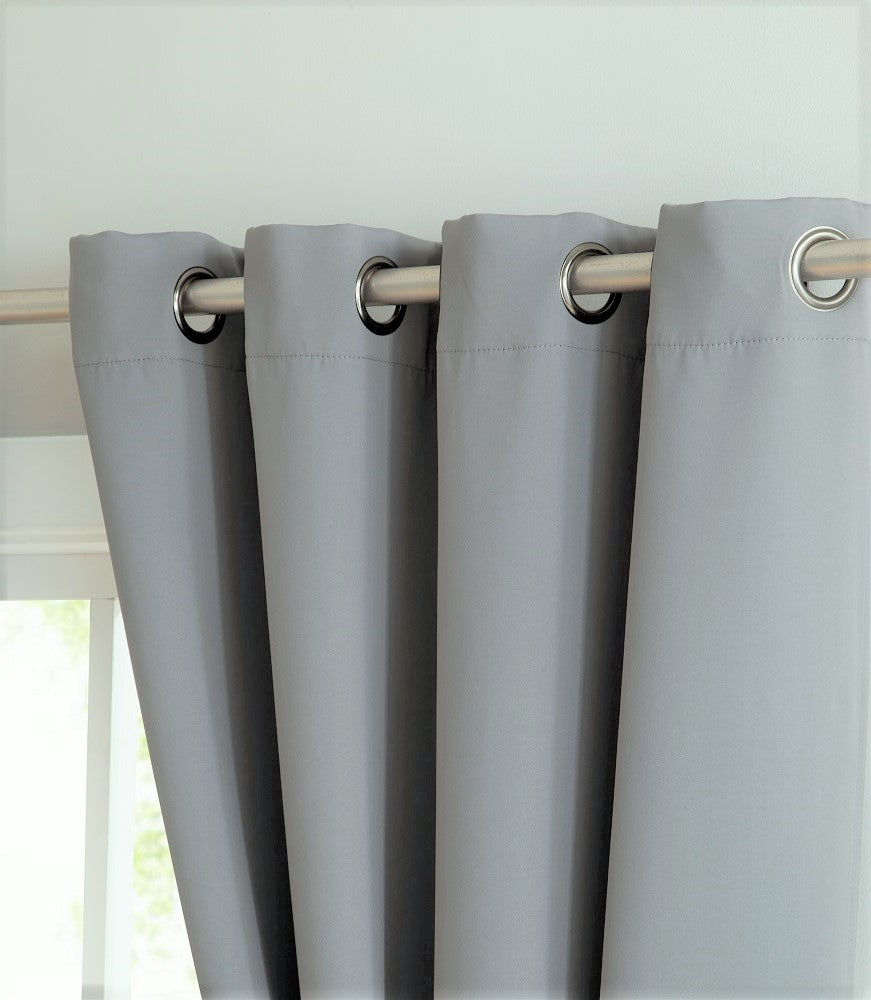 Warm Home Designs Light Grey Blackout Curtain Panels, Pairs & Valances with Tie-Backs in 7 Sizes