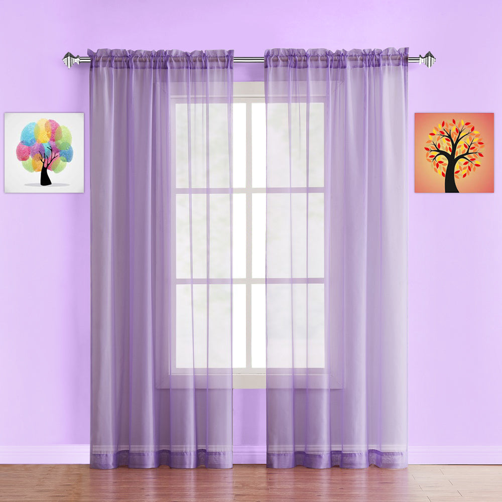 Warm Home Designs Pair of Lilac Purple Sheer Curtains or Extra Long Window Scarf