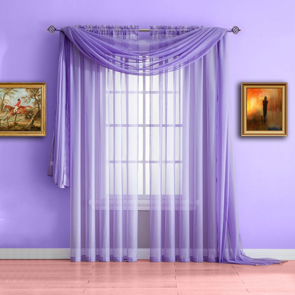 Warm Home Designs Lilac Purple Window Scarf, Sheer Purple Curtains