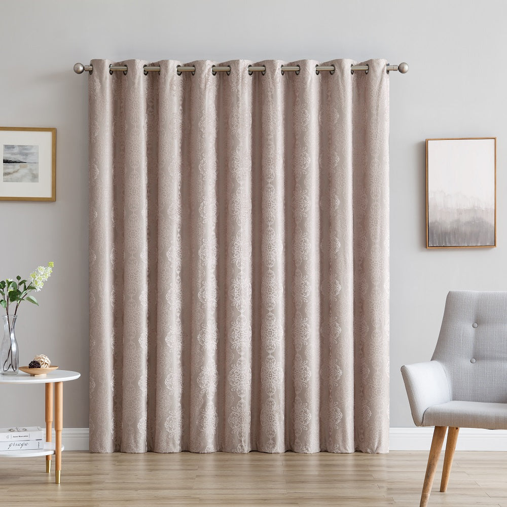 "Warm Home Designs Ultra Premium 110"" Linen Color 100% Blackout Patio Door Curtains"