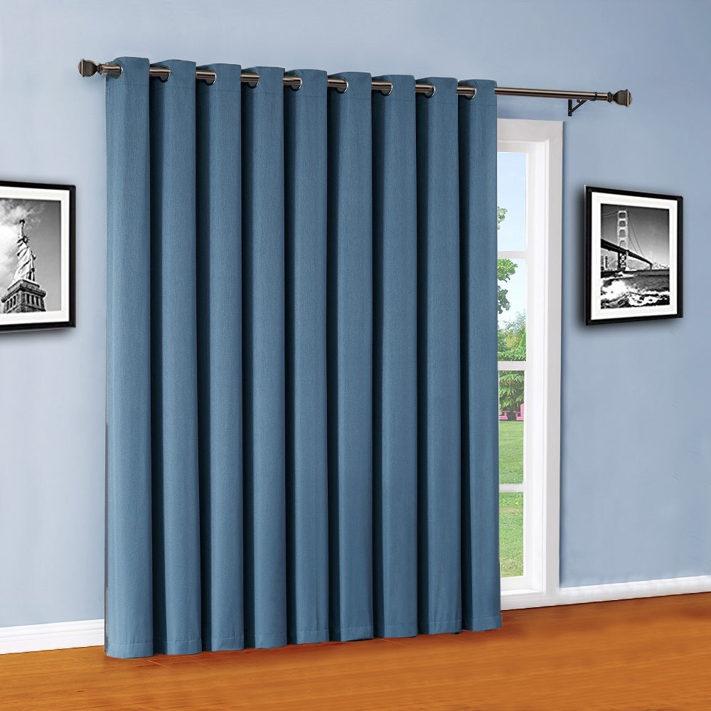 Warm Home Designs Midnight Blue Teal Color 100% Blackout Patio Door Curtains