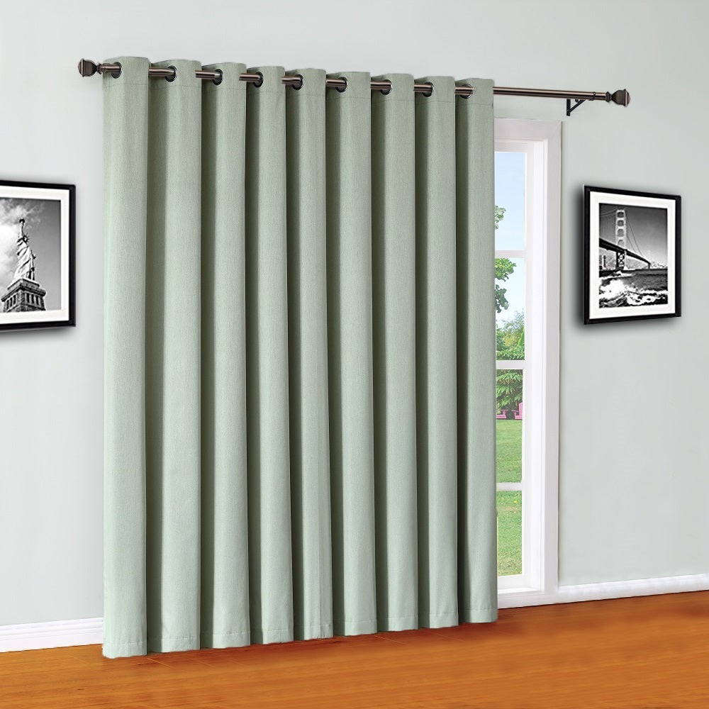Green Moss 100% Blackout Sliding Patio Door Curtain Panel
