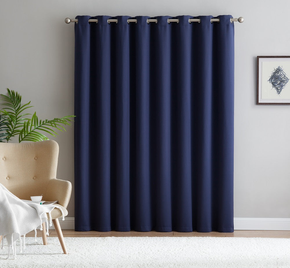 "Warm Home Designs Extra-Wide Blackout 102"" Navy Blue Patio Door Curtains"