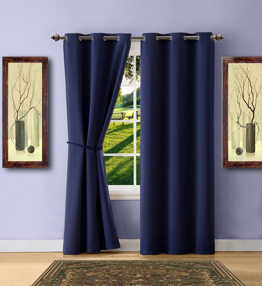 Warm Home Designs Navy Blue Blackout Curtain Panels, Pairs & Valances with Matching Tie-Backs in 7 Sizes