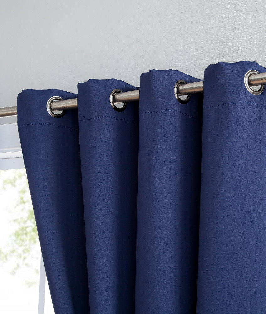 Navy Blue Blackout Curtains & Valance Scarves with Matching Tie-Backs