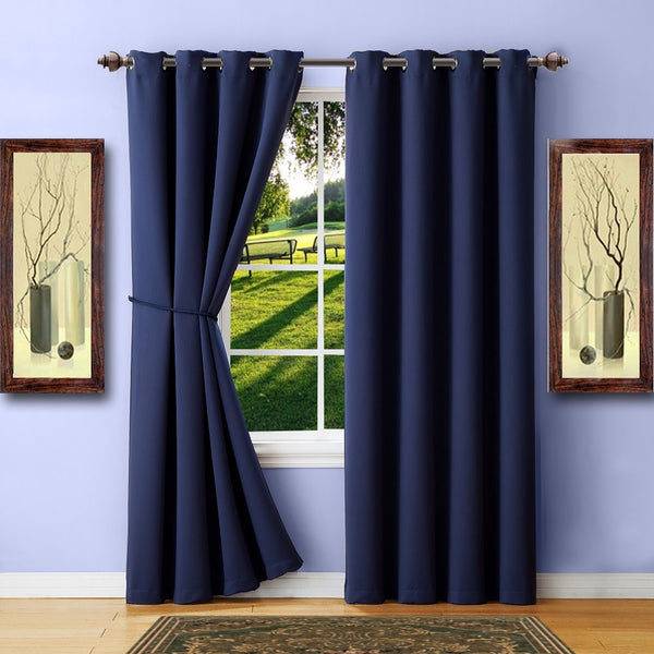 warm home designs navy blackout curtains valance scarves tie backs. Black Bedroom Furniture Sets. Home Design Ideas