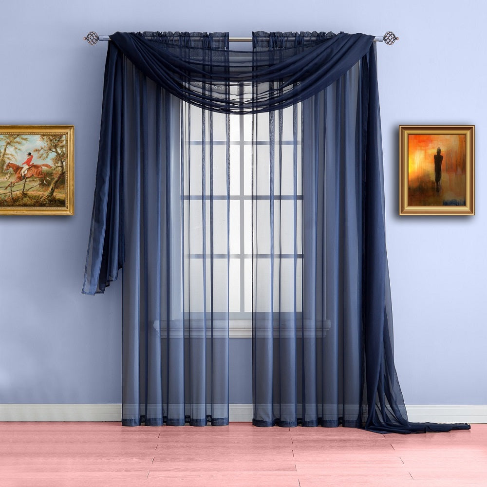 Blue window treatments - Extra Long Navy Blue Valance Window Scarf Or Voile Sheer Curtains