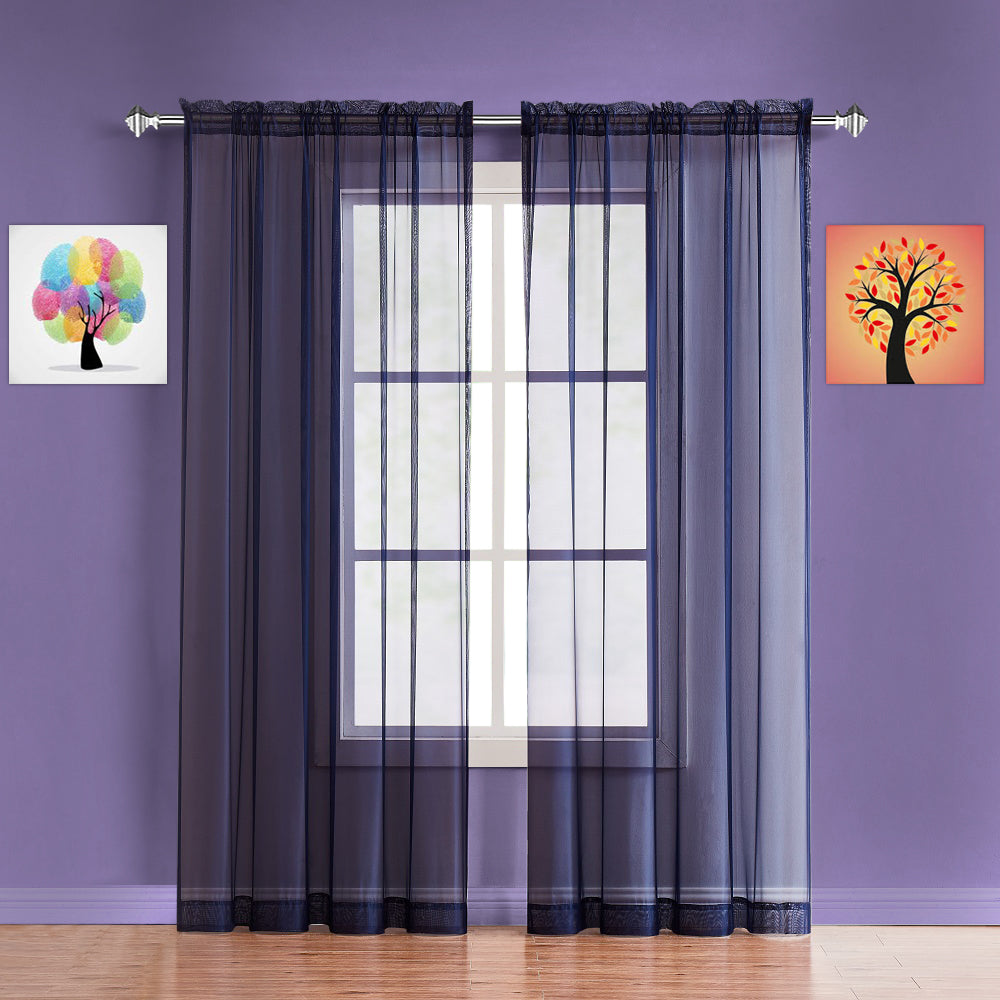 Warm Home Designs Pair of Indigo / Navy Blue Sheer Curtains or Extra Long Window Scarf