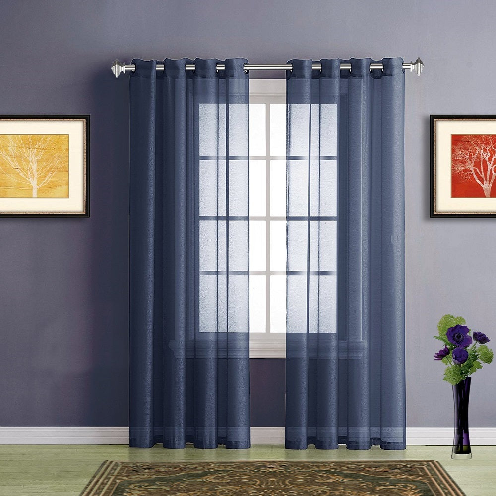 Warm Home Designs Faux Linen Royal Navy Blue Sheer Curtains U0026 Grommets