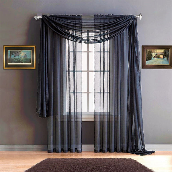 Warm Home Designs Navy Blue Window Scarves & Sheer Royal Navy Curtains