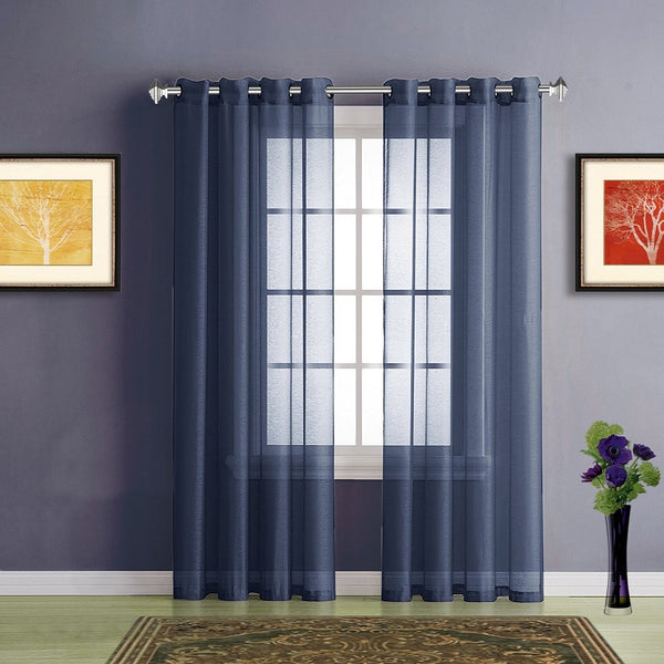 Warm Home Designs Faux Linen Royal Navy Blue Sheer Curtains & Grommets