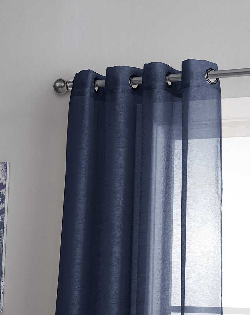 Warm Home Designs 1 Pair of Navy Blue Voile Sheer Window Curtains with Grommet Top