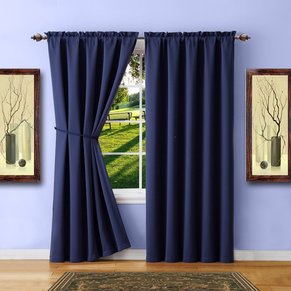 Warm Home Designs Pair of Navy Blue Room Darkening Curtains, Tie-Backs