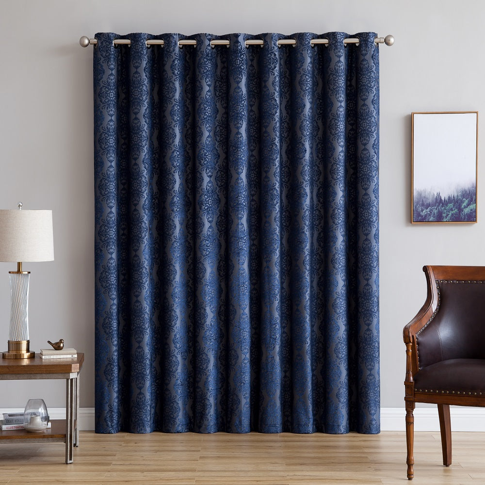 "Warm Home Designs Ultra Premium 110"" Navy Blue Color 100% Blackout Patio Door Curtains"