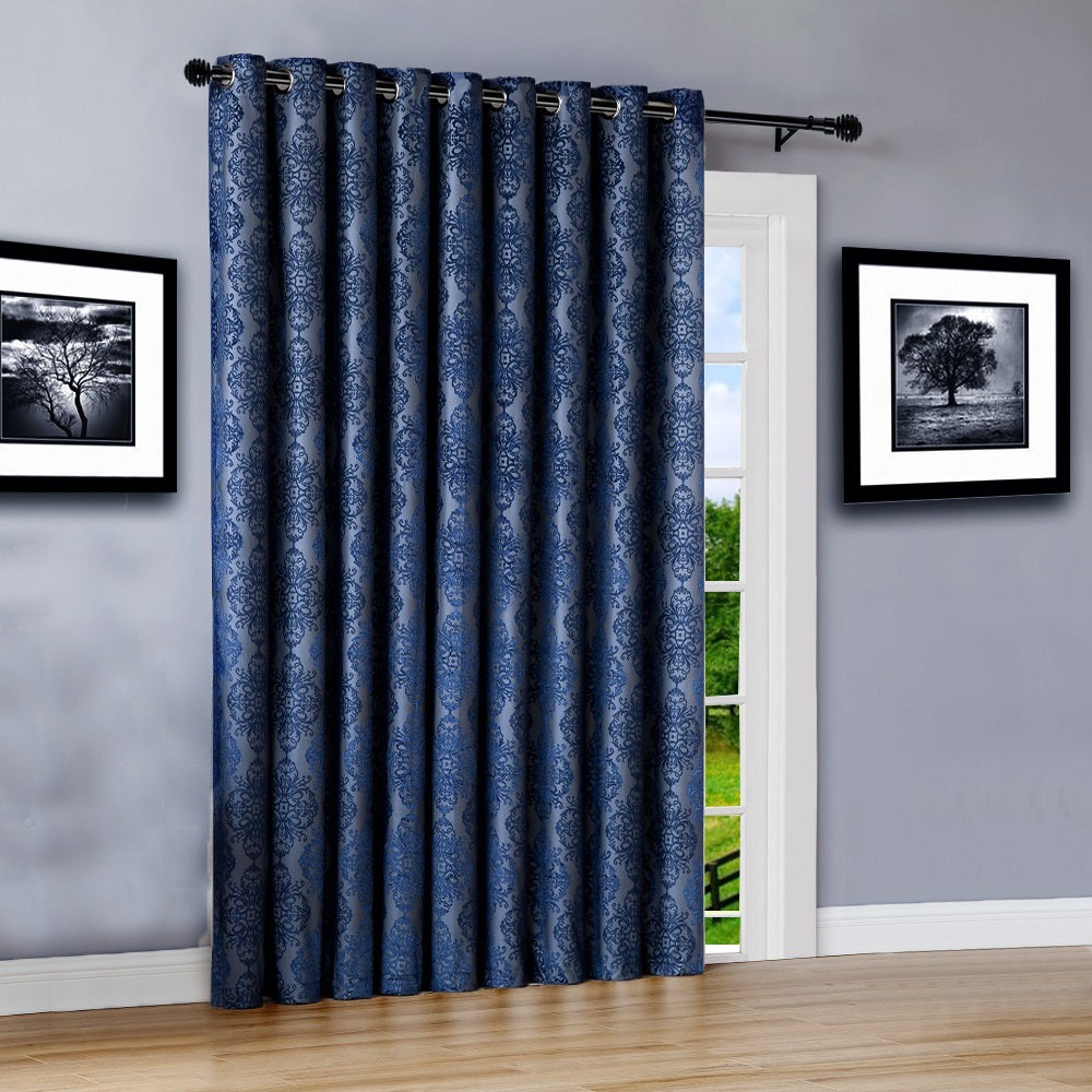 Warm home designs 110 wide navy 100 blackout patio door curtains planetlyrics Image collections