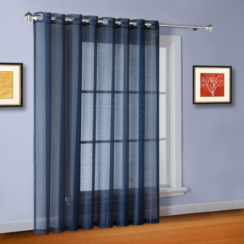 "102"" Extra Wide Sheer Navy Blue Patio Door Curtains or Room Dividers"