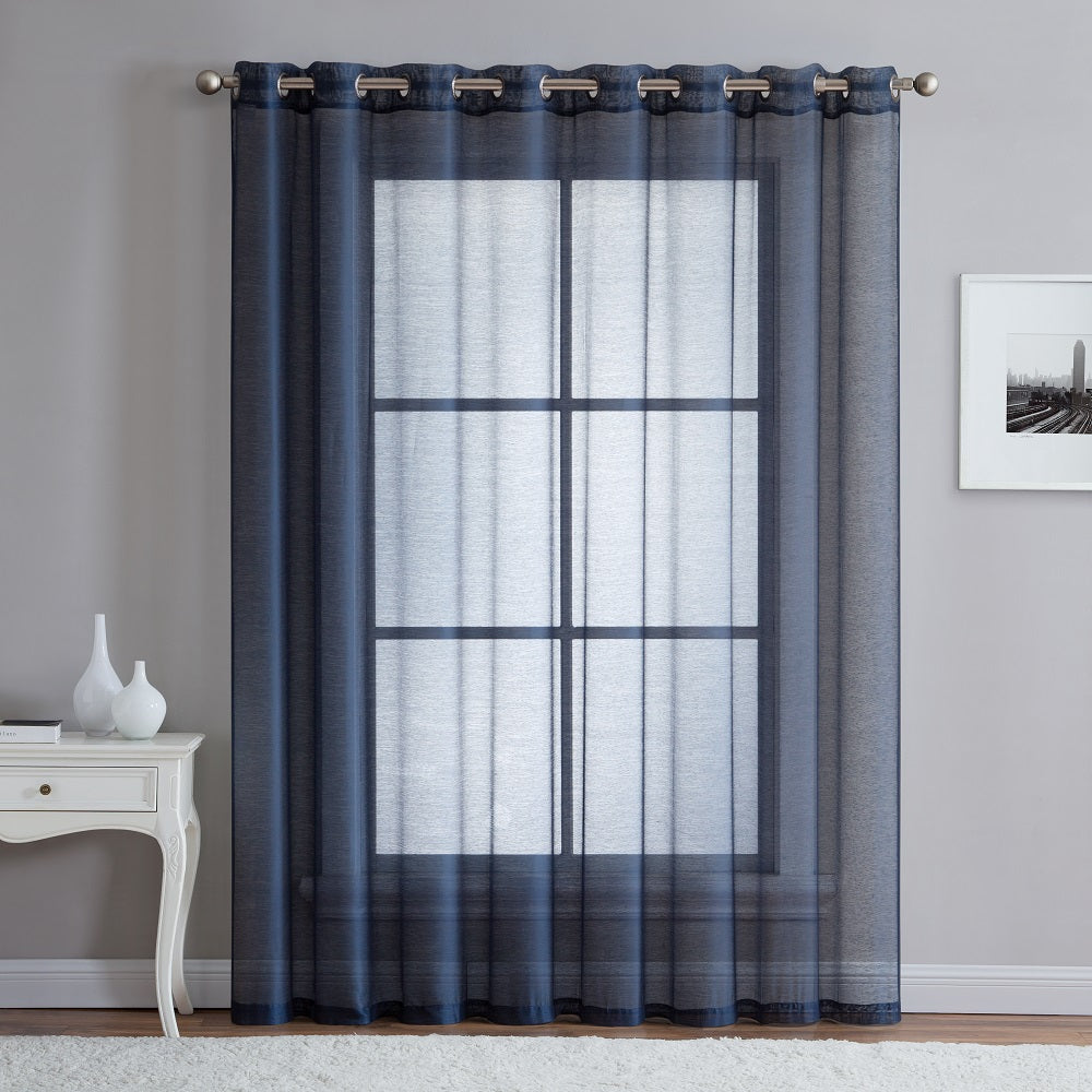 "Warm Home Designs 1 Panel of 102"" Extra Wide Linen Textured Sheer Navy Blue Patio Door Curtains"