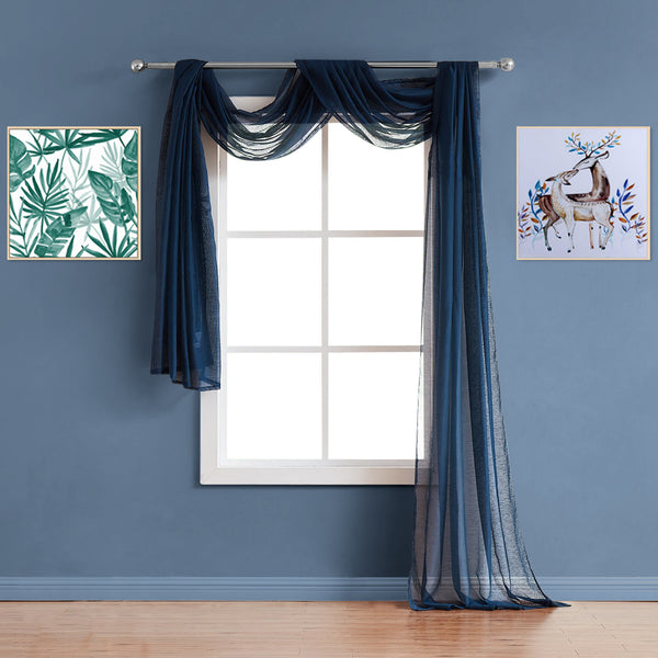 Warm Home Designs Premium Sheer Navy Blue Window Scarves or Rod Pocket Sheer Navy Curtains