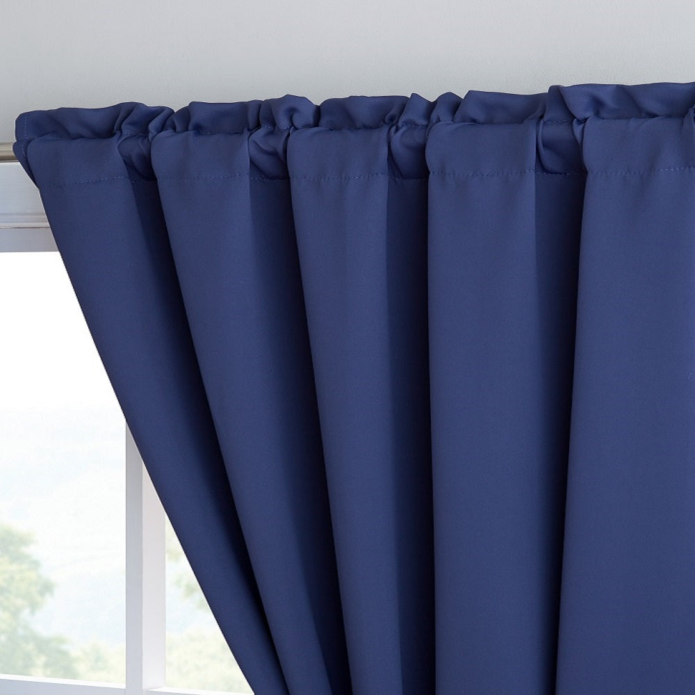 "Warm Home Designs Pair of 54"" Royal Navy Blue Blackout Panels with Insulated Lining & 2 Tie-Backs. Blackout Curtains Available in 63, 84, 96 & 108 Inch Length."