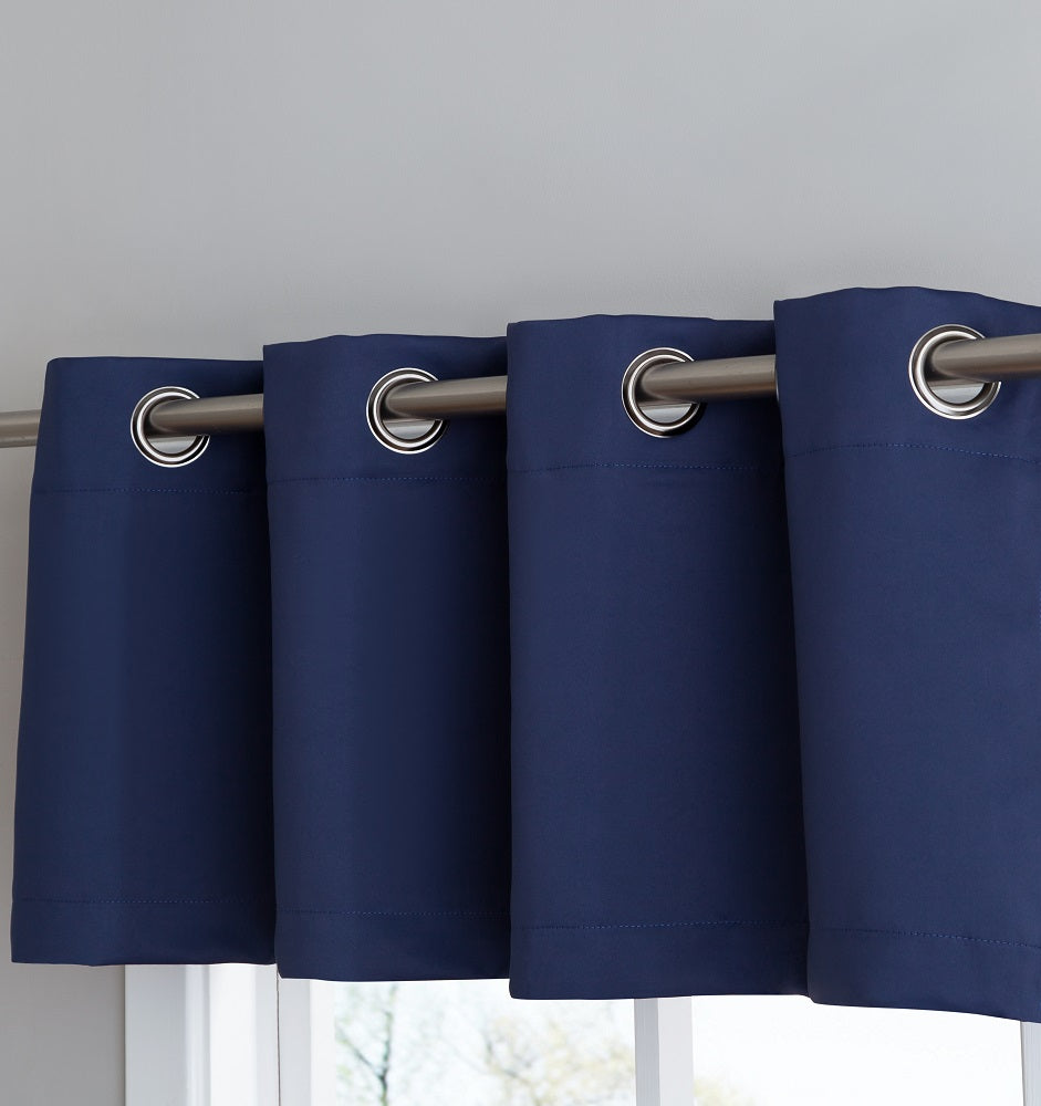 Warm Home Designs Navy Blue Blackout Curtain Panels, Pairs & Valances with Tie-Backs in 7 Sizes
