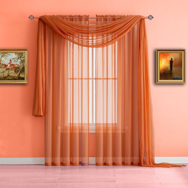 Warm Home Designs Orange Window Scarf Valance Sheer Orange Curtains
