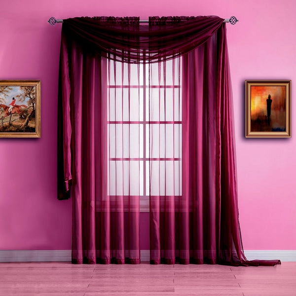 Warm Home Designs Plum Window Scarf Valance, Sheer Plum Curtains