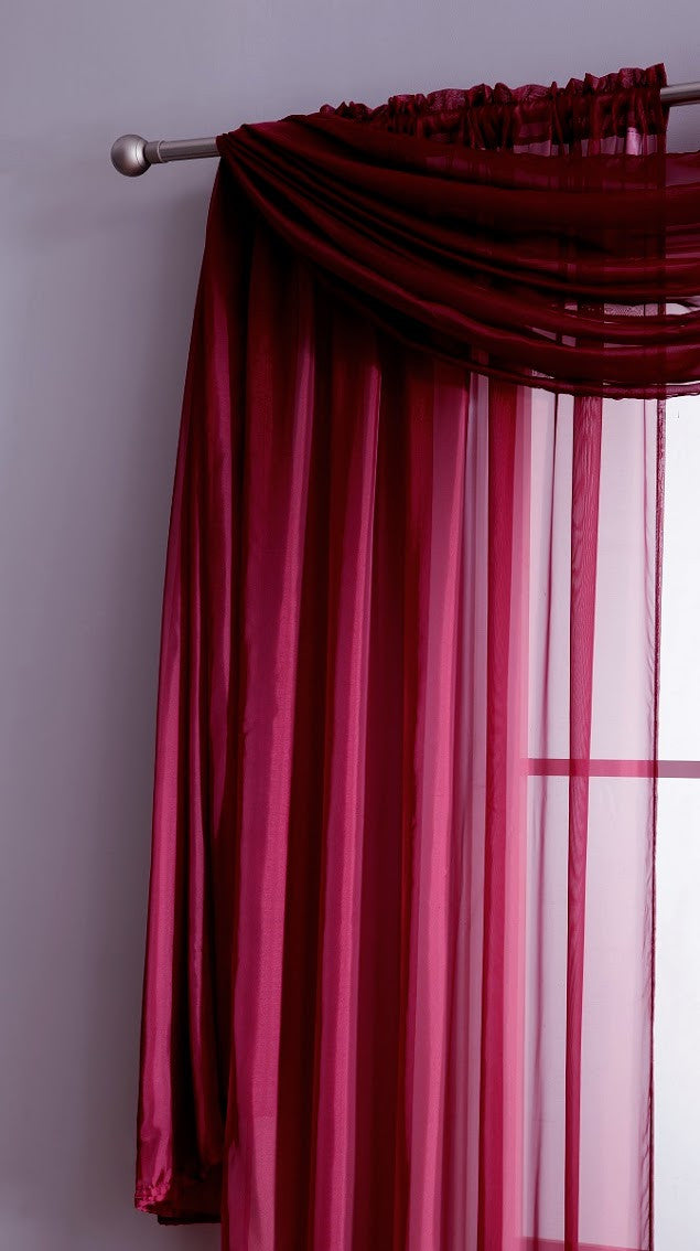 Popular Warm Home Designs Plum Window Scarf Valance, Sheer Plum Curtains  UU04
