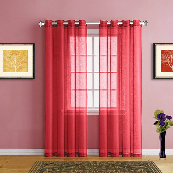 Warm Home Designs Faux Linen Christmas Red Sheer Curtains & Grommets