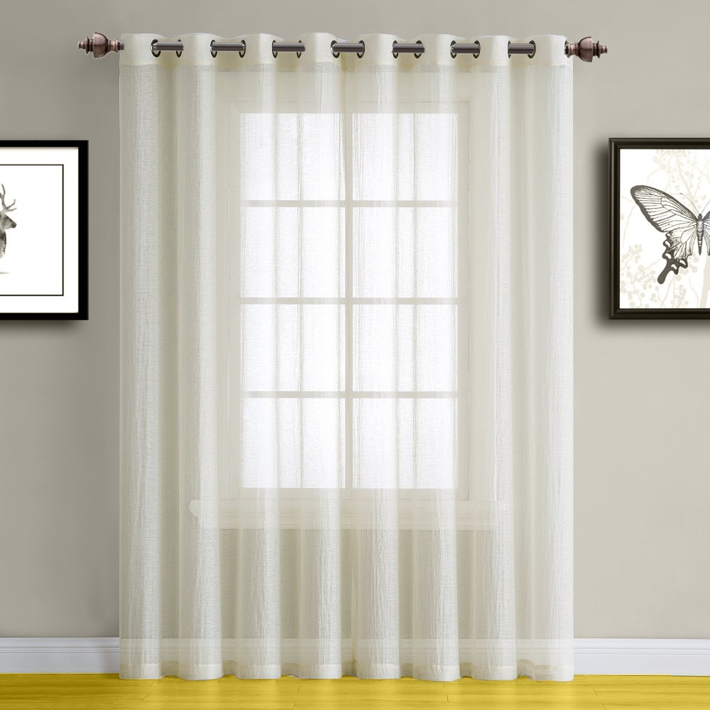 Warm Home Designs Beige Semi-Sheer Crushed Window Curtains in 9 Sizes