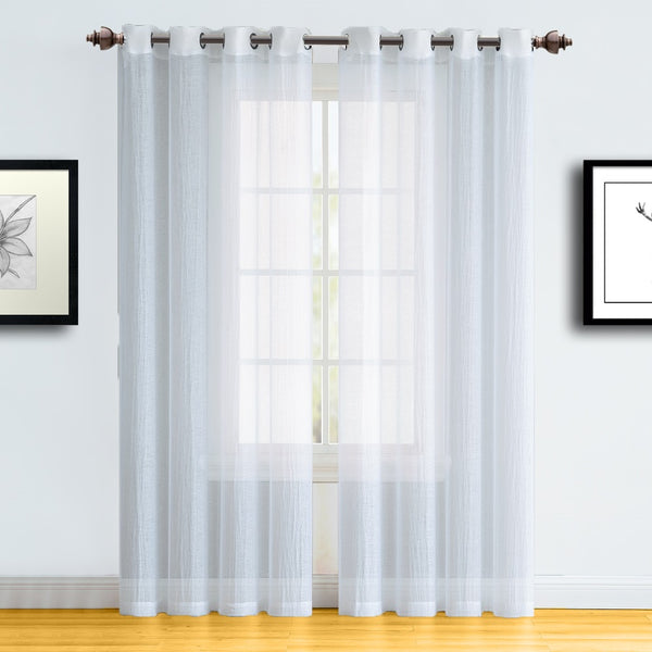 Warm Home Designs White Semi-Sheer Crushed Window Curtains in 9 Sizes