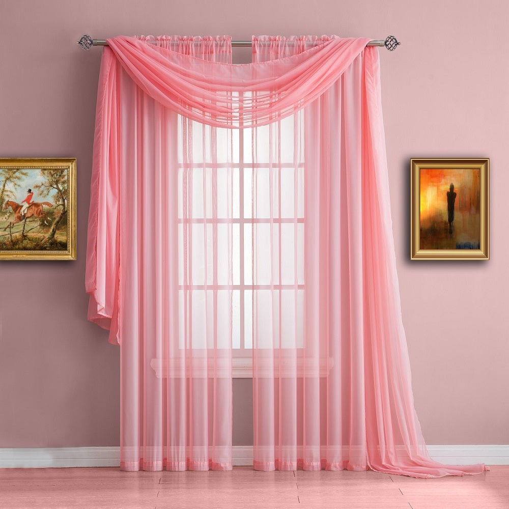 Warm Home Designs Rose Baby Pink Window Scarf, Sheer Pink Curtains