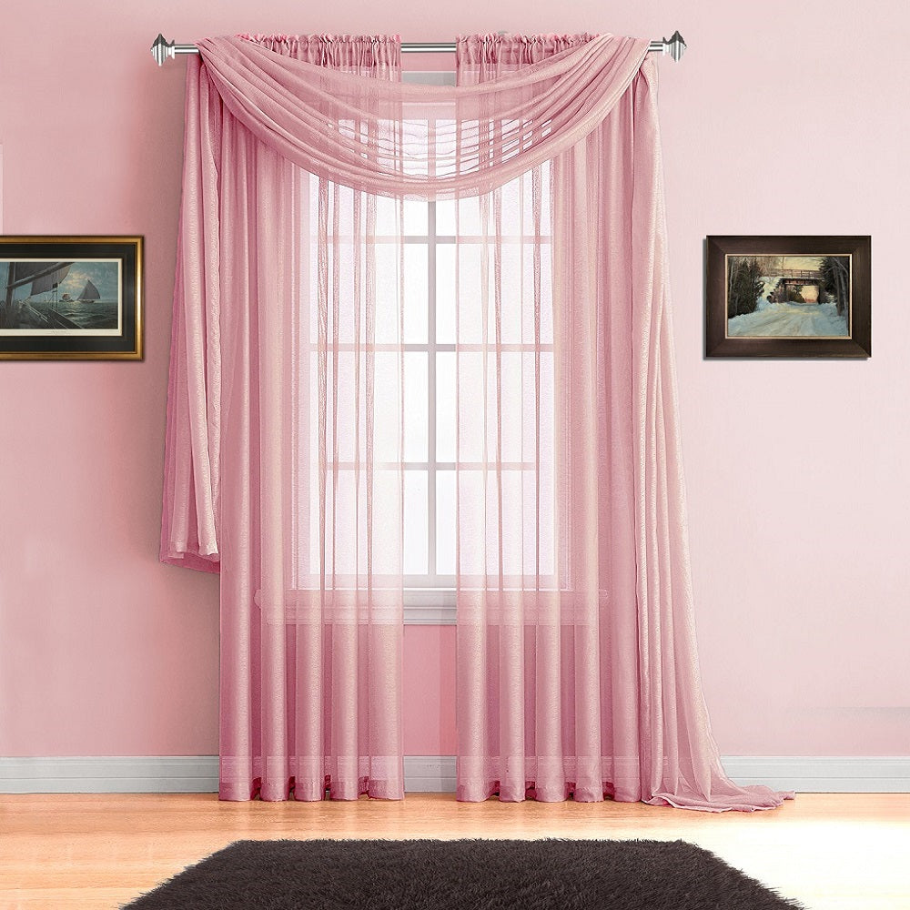 Warm Home Designs Rose Pink Window Scarves, Sheer Baby Pink Curtains