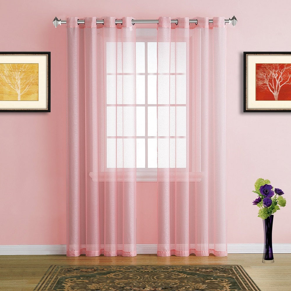 Warm Home Designs Faux Linen Light Rose Pink Sheer Curtains & Grommets