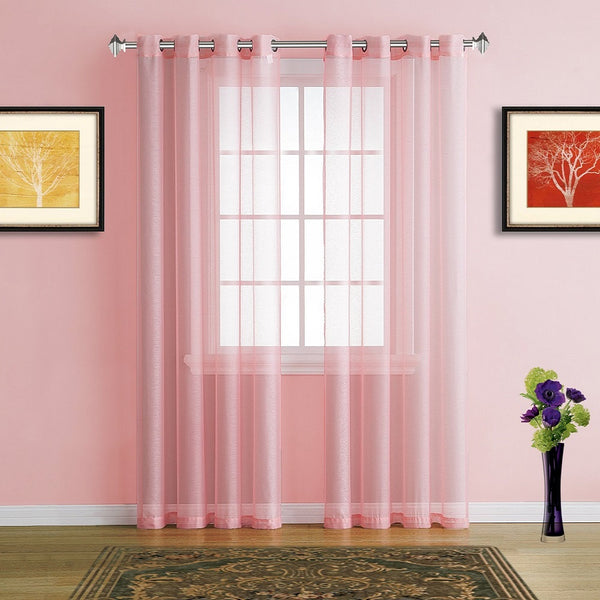 Warm Home Designs Faux Linen Light Rose Pink Sheer Curtains U0026 Grommets