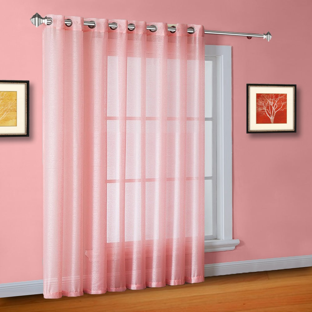 "102"" Extra Wide Sheer Rose Pink Patio Door Curtains or Room Dividers"
