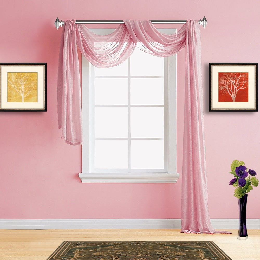Warm Home Designs Sheer Rose Pink Window Scarf