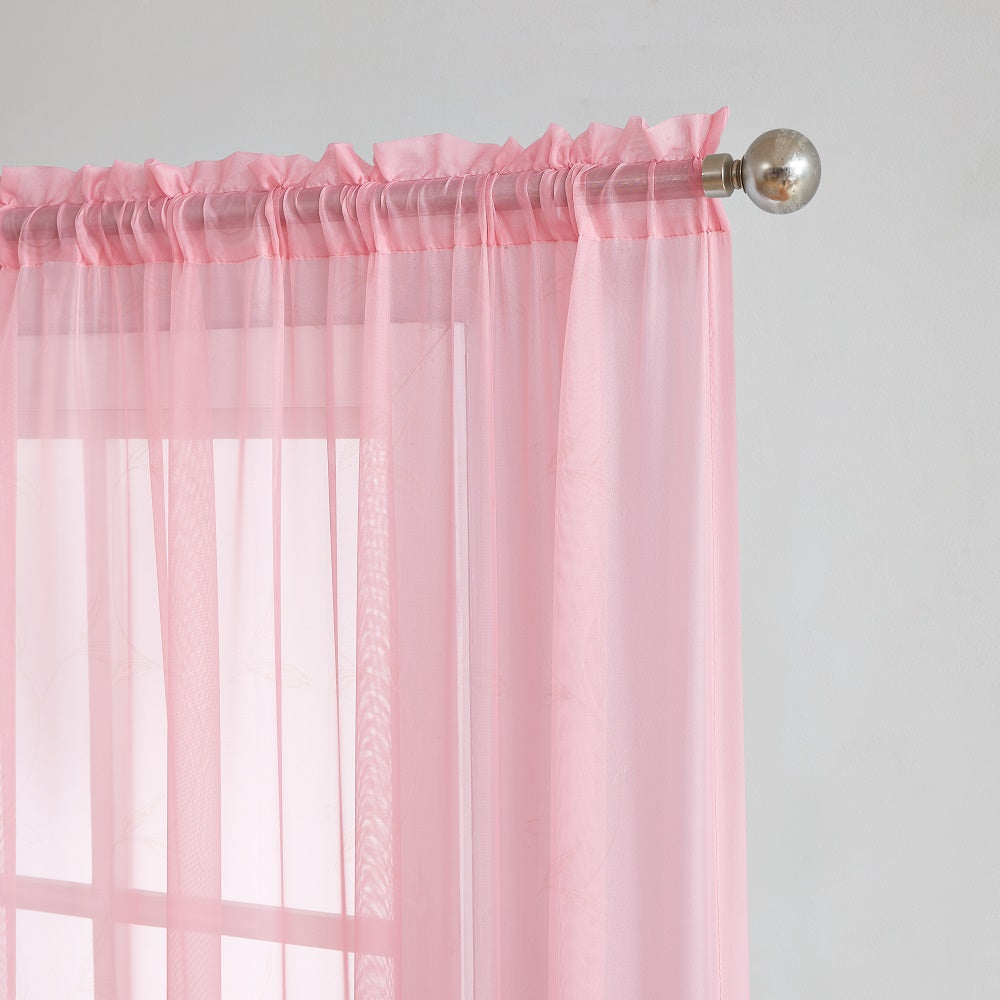 Warm Home Designs Pair of Rose Pink Sheer Curtains or Extra Long Window Scarf