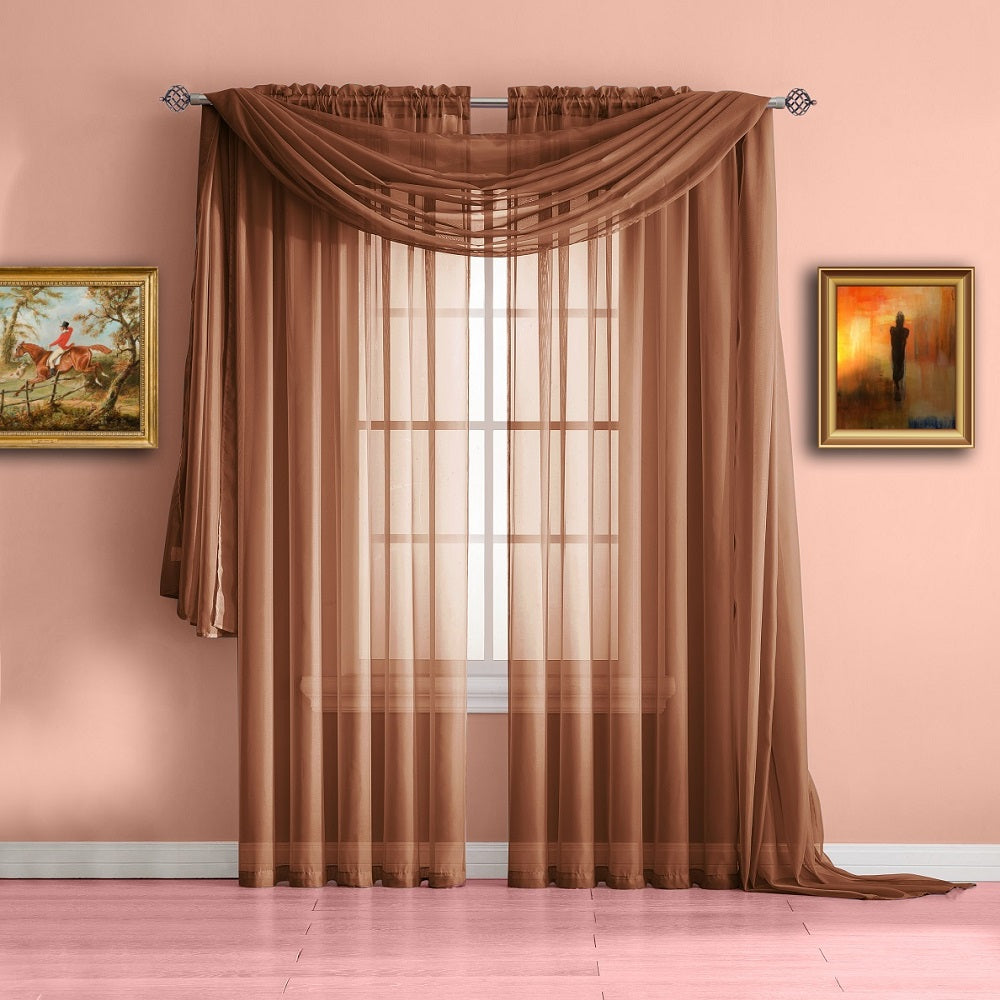 Warm Home Designs Orange Rust Window Scarf Valance Sheer Rust Curtains