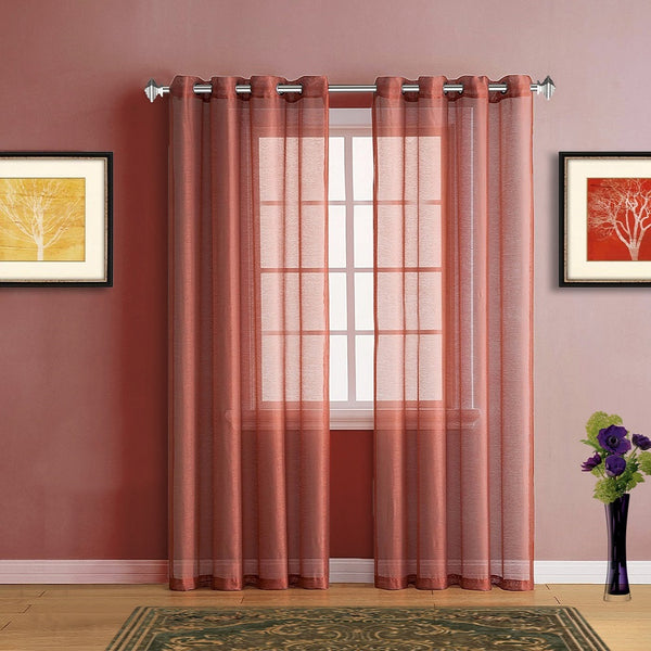 Warm Home Designs Faux Linen Orange Rust Sheer Curtains with Grommets