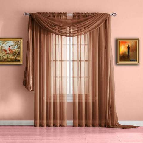 extra long orange rust valance window scarf or voile sheer curtains - Rust Color Curtains