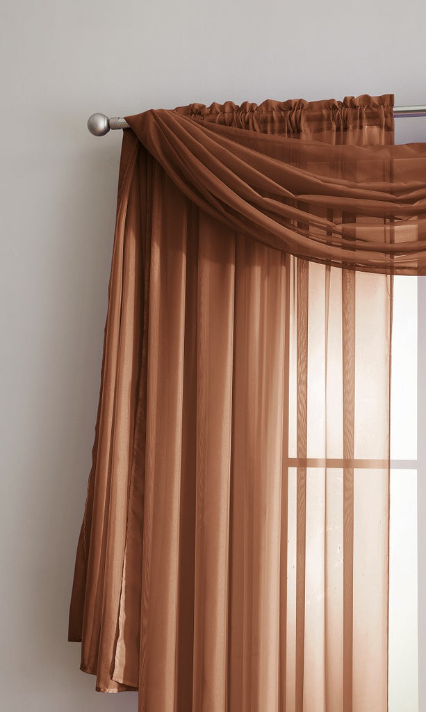 Warm Home Designs Pair of Orange Rust Sheer Curtains or Extra Long Window Scarf