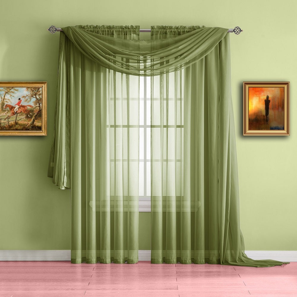 Warm Home Designs Sage Green Window Scarf Valance Sheer Curtains